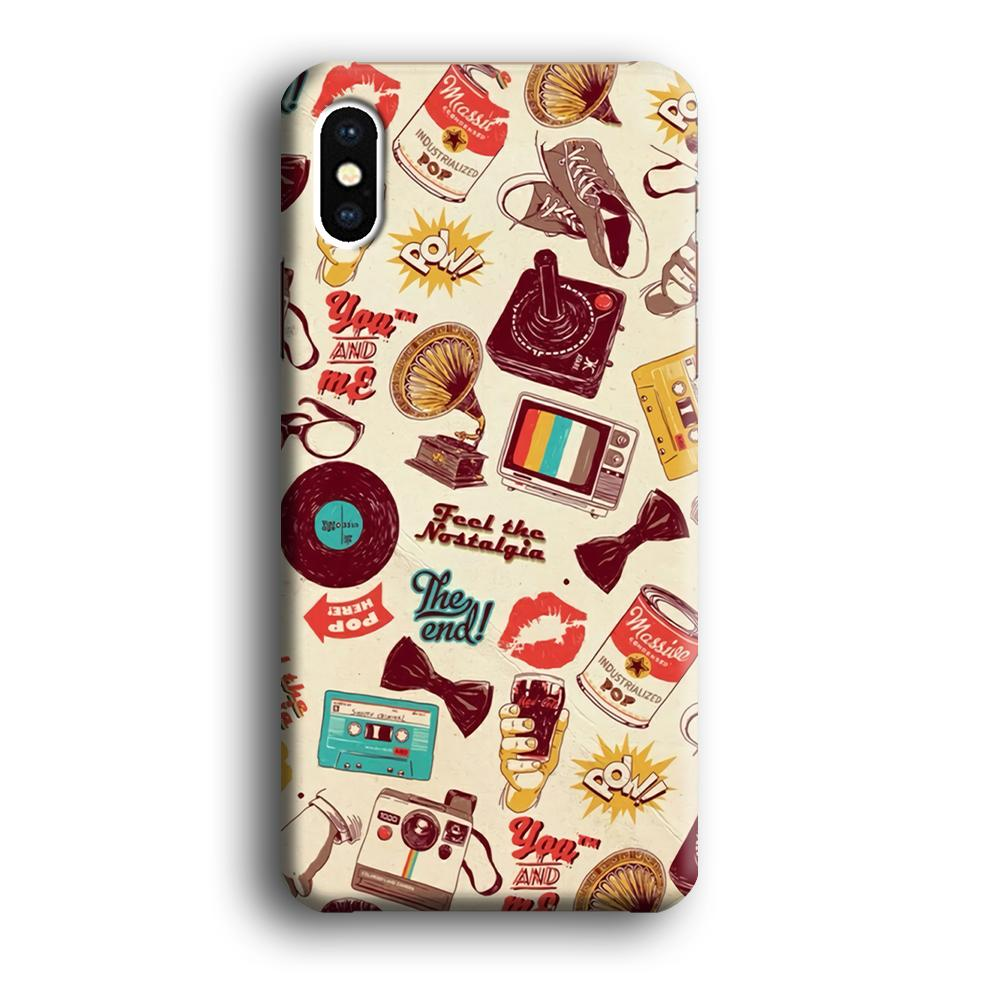 Collage Old Kiss iPhone X 3D coque custodia fundas