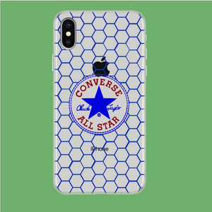 Converse Shiny Blue Hexa Patern iPhone Xs Clear coque custodia fundas