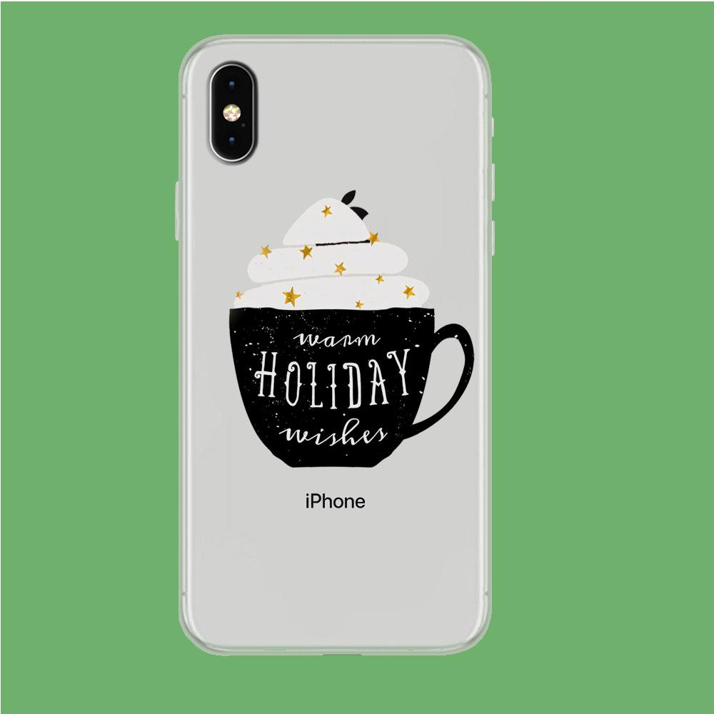 Cup of Warm Holiday iPhone Xs Max Clear coque custodia fundas