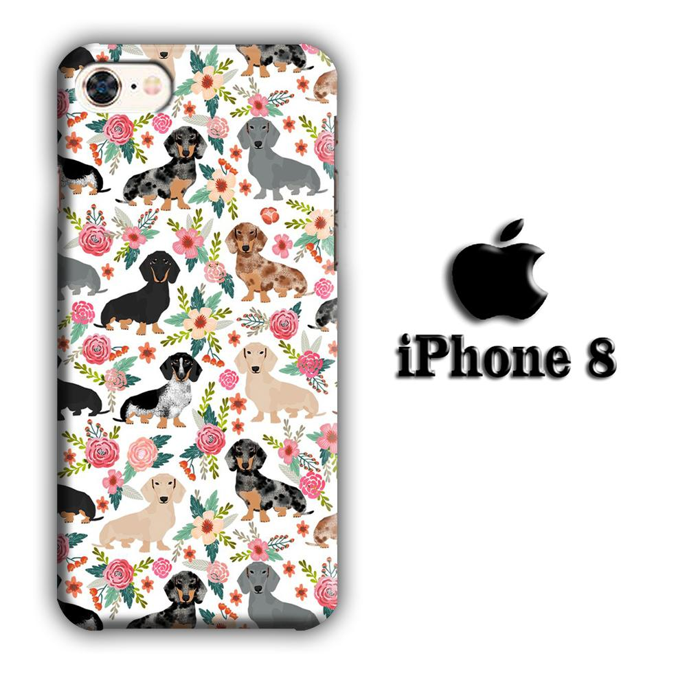 Dog Flowering Dachshund iPhone 8 3D coque custodia fundas