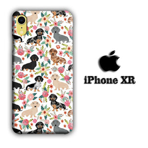 Dog Flowering Dachshund iPhone XR 3D coque custodia fundas