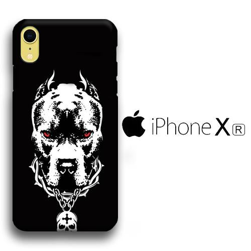 Dog Pitbulls Gaze iPhone XR 3D coque custodia fundas