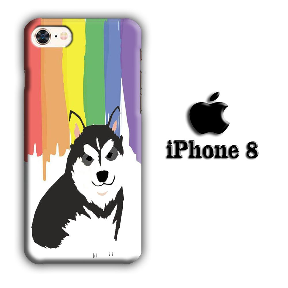 Dog Siberian Husky Art iPhone 8 3D coque custodia fundas