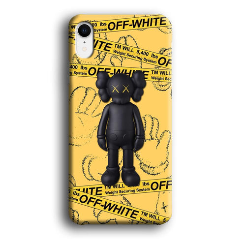 Off White Yellow Belt x Kaws iPhone XR 3D coque custodia fundas