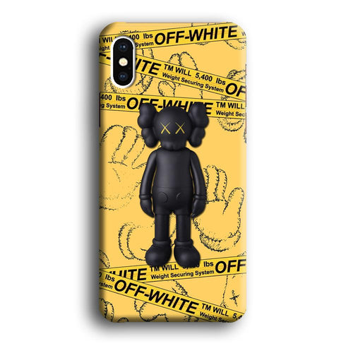 Off White Yellow Belt x Kaws iPhone Xs Max 3D coque custodia fundas