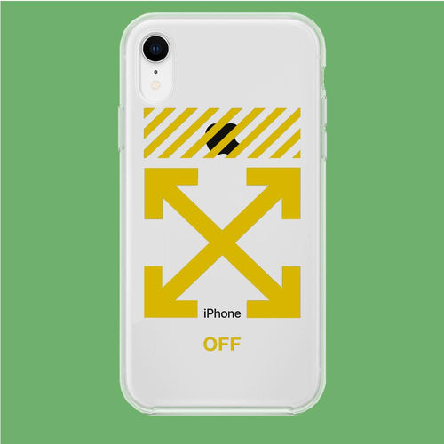 Off White Yellow Flash iPhone XR Clear coque custodia fundas