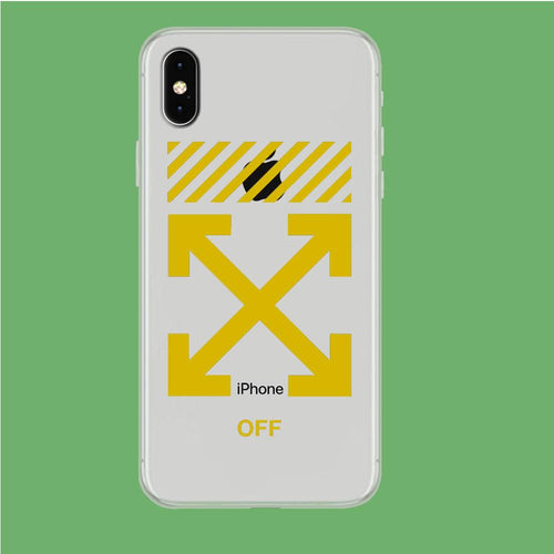 Off White Yellow Flash iPhone Xs Max Clear coque custodia fundas