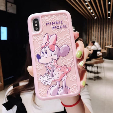 Coque iPhone XR Jolie Minnie Mouse 3D Dessin Animé Mignon Minnie Batman  Point Silicone Souple Couverture Arrière iPhone 5C Max