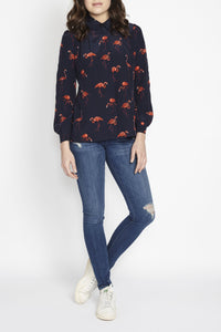 Blue Flamingo print Dora Shirt