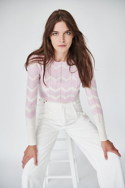 Jessie Knit in Pink and White Chevron
