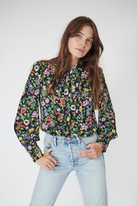 Pansy Pussybow in Black Floral