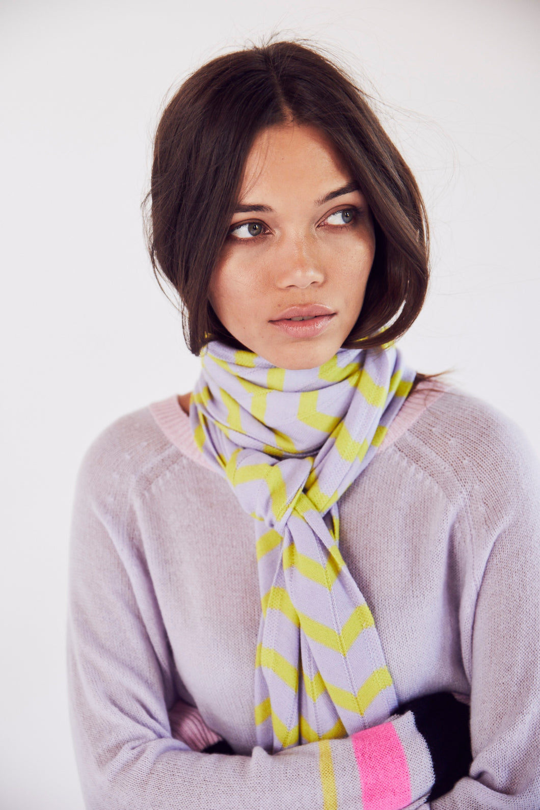 Chevron Scarf in Lilac and Yellow