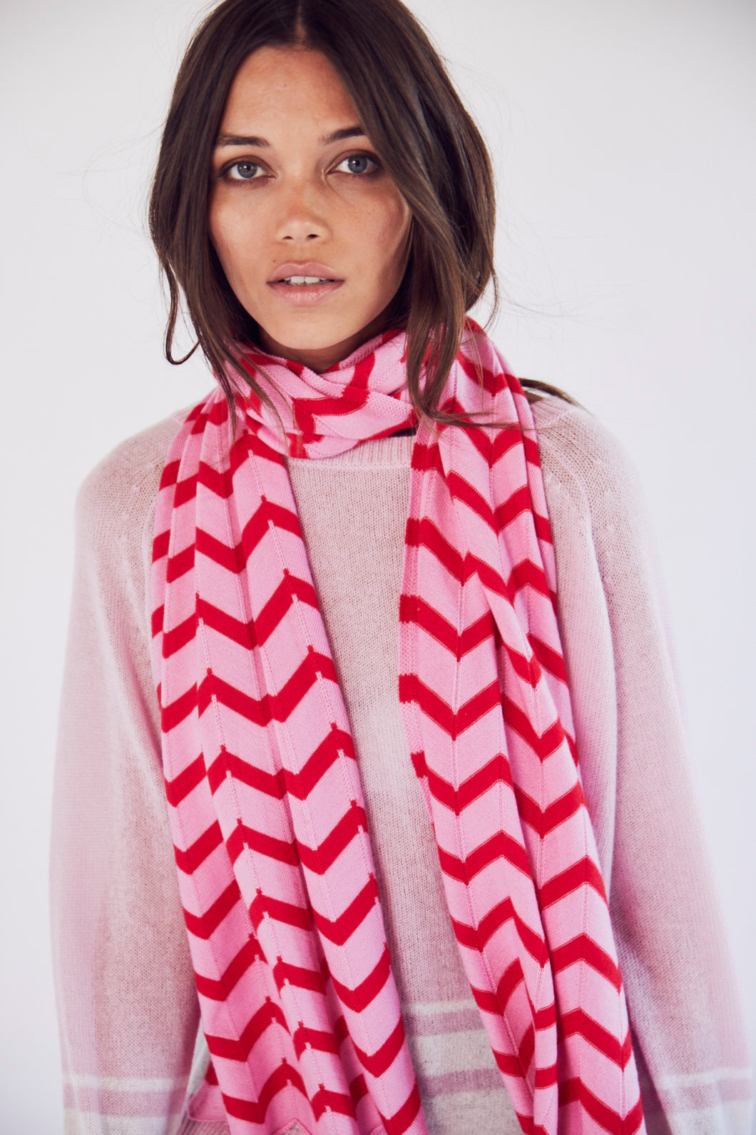 Chevron Scarf in Red and Pink