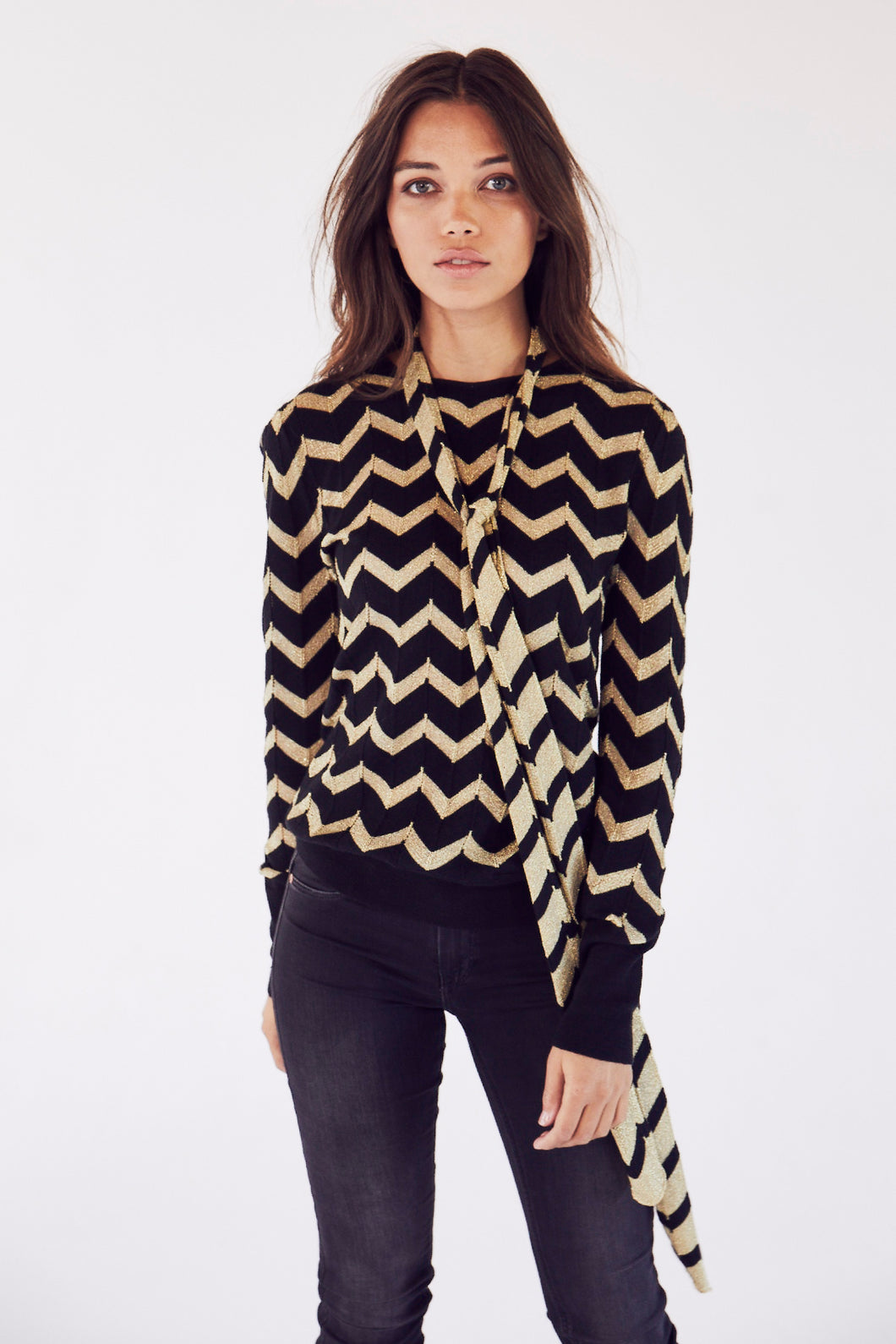 Lucille in Black and Gold Chevron