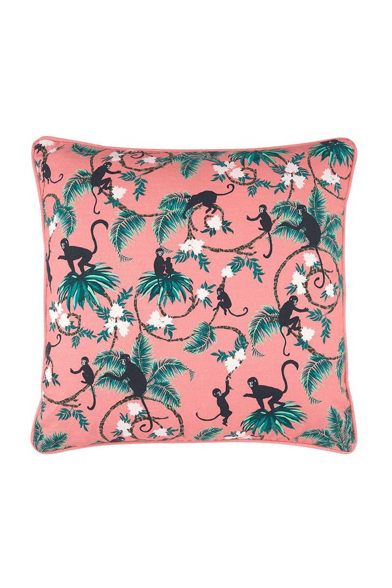 Monkey Cushion in Coral Pink
