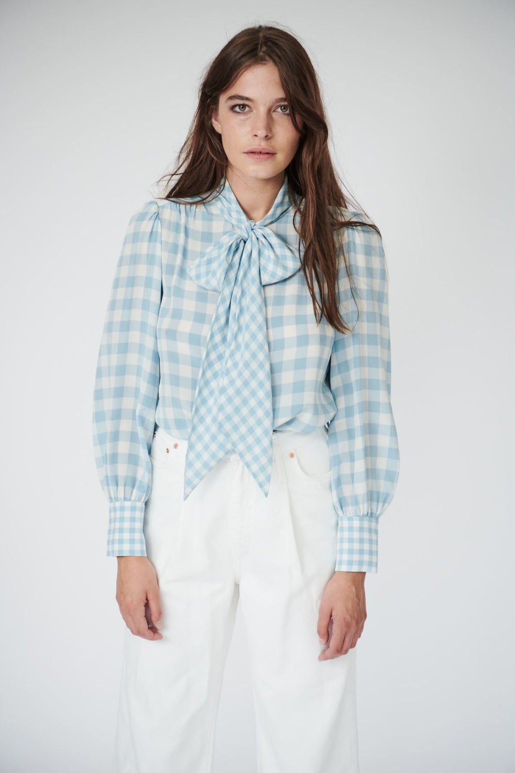 Pansy Pussybow in Blue Gingham