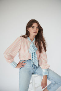Pansy Pussybow in Pink and Blue Gingham