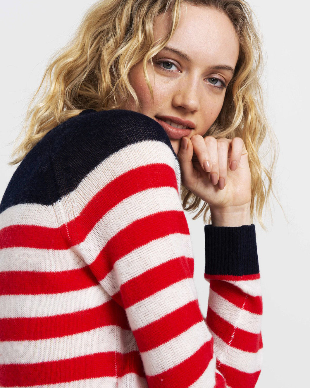 Cassie Cashmere in Navy and Red