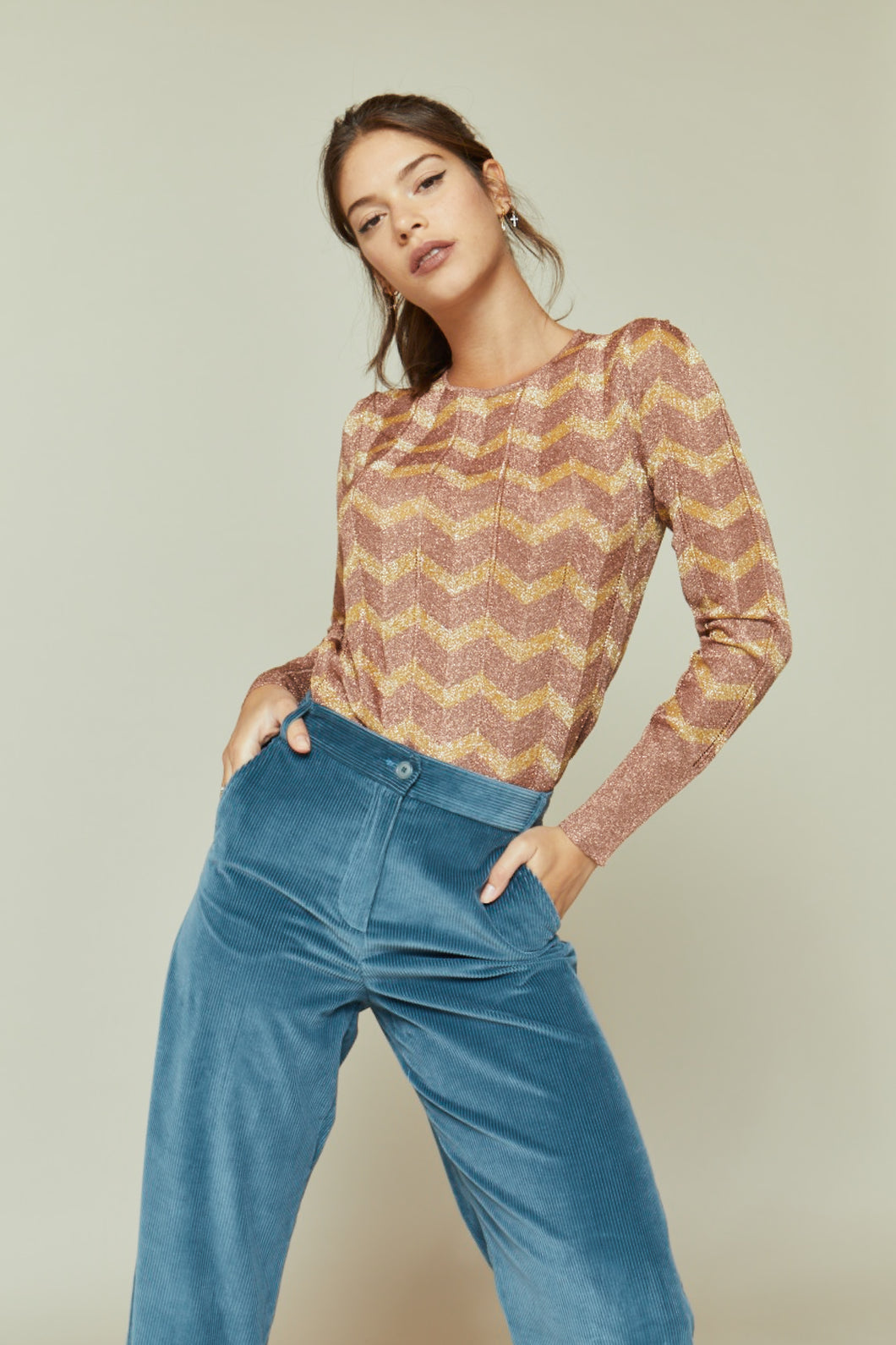 Lucille in Copper and Gold Knit