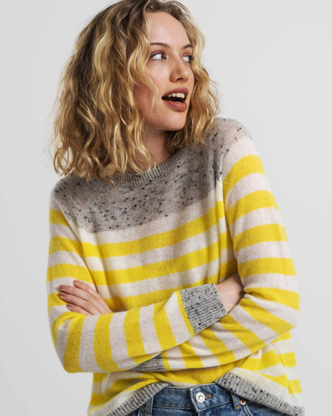 Cassie Cashmere in Yellow and Grey