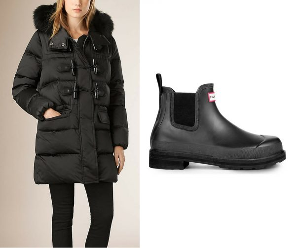 Burberry Duffle Puffer Coat; Hunter chelsea wellington boots