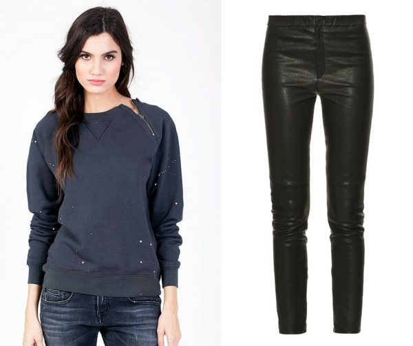 Sol Angeles Raglan Paint-Splatter Pullover; Isabel Marant leather trousers