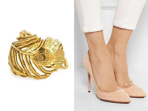 Peacock Feather ring, Alex Monroe; Party Monroe pumps, Charlotte Olympia