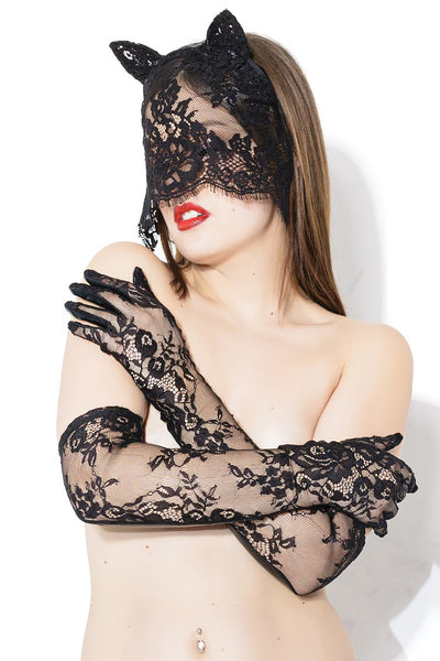 Sex Kitten - Sex Kitten Wet Look Lace Glove & Mask Set