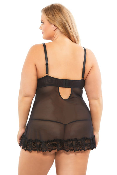 Black Widow- Plus Size Black Babydoll Set