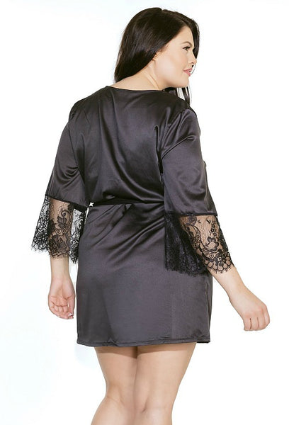Sensuous Satin Black Robe- One Size Fits Most & Plus