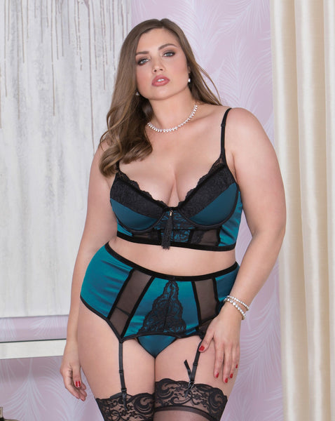 Damn, I look good!  Plus Size Bra & Garter Set