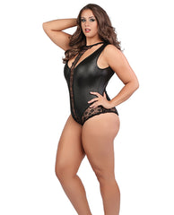 Kinky Kitty- Plus size wet look teddy