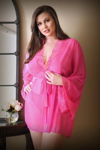 Sunday Morning Romp- Plus Size Pink Robe