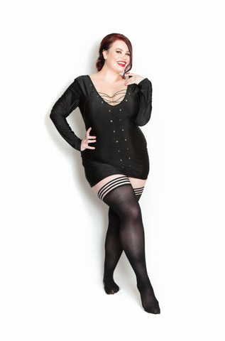 Devious Danielle- Kix'ies Plus Size Opague Stockings