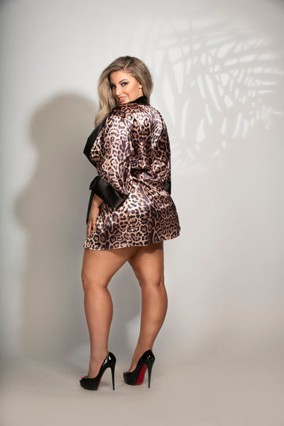 Can't Tame This Kitty! Plus Size Satin Leopard Robe