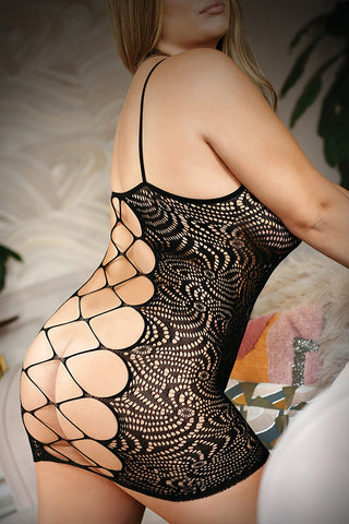 Watch Me From Behind! Plus Size Fishnet Lingerie