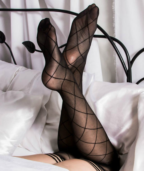 Tarty Tiff- Plus Size Diamond Patterned Thigh Highs