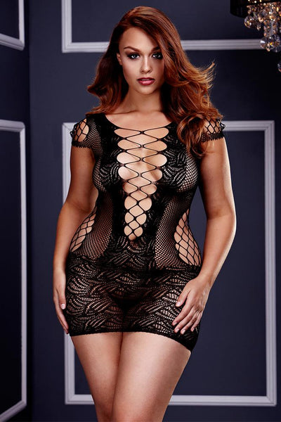 Want Me From Behind? Plus Size Fishnet Dress