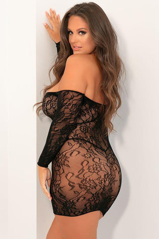 Sexy & Seductive- Plus Size Black Fishnet Dress
