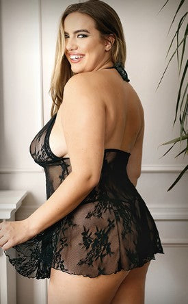 Ohhhhh..... I will KICK YO ASS! Plus SIze Black Lace Babydoll