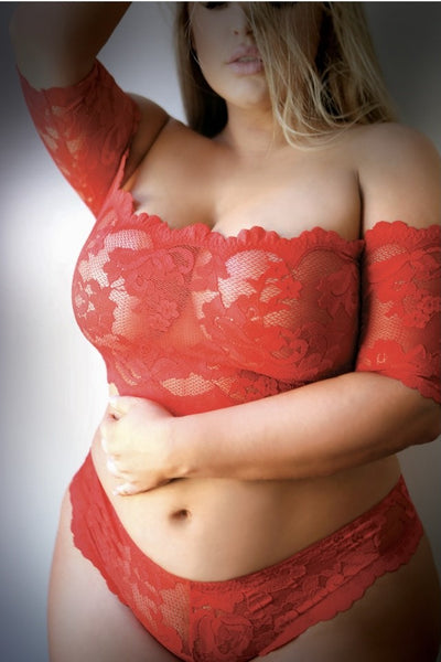 Approach with Caution! Plus Size Red Lace Crop Top- 1 LEFT
