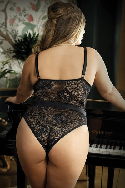 HAWT Thang ! Plus Size Black Lace Teddy