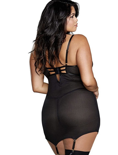 Kitty Power- Plus Size Fishnet Power Mesh Garter Slip
