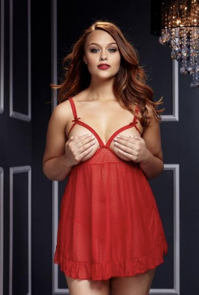 Naughty & Cute- Plus Size Open Cup Lingerie