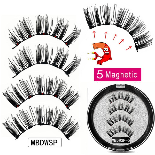 MB Magnetic Eyelashes with 5 Magnets Handmade Reusable 3D Mink False Eyelashes for Makeup faux cils magnetique naturel Tweezers
