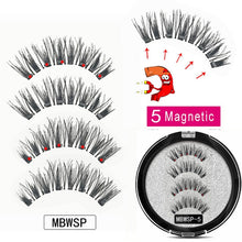 Load image into Gallery viewer, MB Magnetic Eyelashes with 5 Magnets Handmade Reusable 3D Mink False Eyelashes for Makeup faux cils magnetique naturel Tweezers
