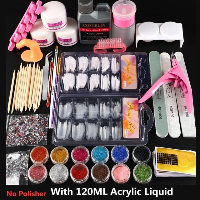 COSCELIA Acrylic Nail Kit Set Of Milling Cutters For Manicure Gel Varnishes Set Nail Art Decorations All For Manicure Nail Kit