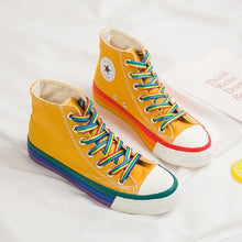 Load image into Gallery viewer, SWYIVY Rainbow Bottom Casual Shoes Woman High Top Sneakers Cavans 2020 Spring Female Casual Shoes White Canvas Sneakers Oman