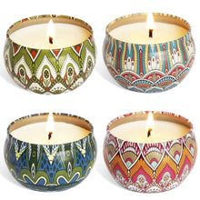 Load image into Gallery viewer, 4PCS/Set Portable Scented Candles Rose Lavender Gardenia Tin Candle Travel Gift Wedding Yoga Party Home Decorations
