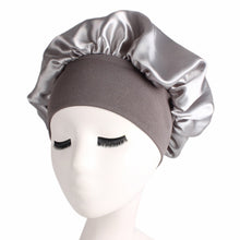 Load image into Gallery viewer, 58cm Solid Color Long Hair Shower cap Care Women Satin Bonnet Cap Night Sleep Hair Care Hat Silk Head Wrap Adjust Shower Cap